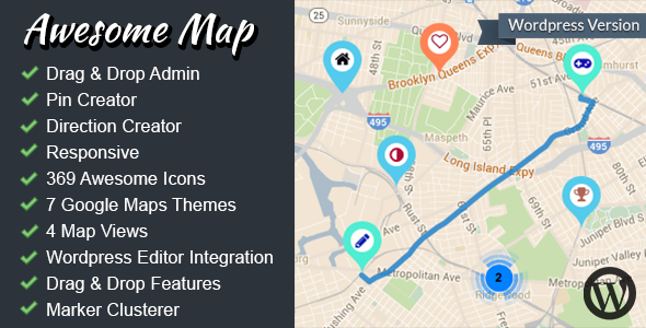 Awesome Map WP Fully Customizable Markers Map