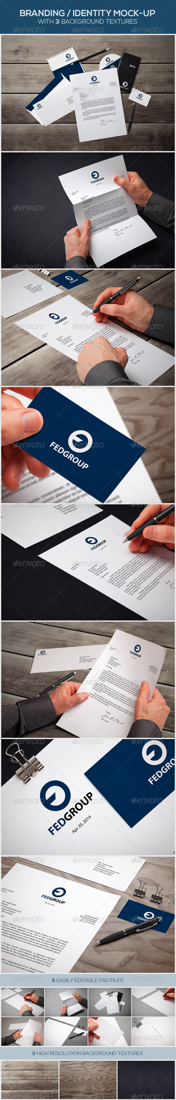 GraphicRiver 8 Branding Identity Mock-ups with 3 Textures 7546653