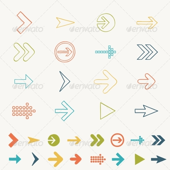 GraphicRiver Arrow Sign Icon Set Doodle Hand Drawn Illustration 7546785