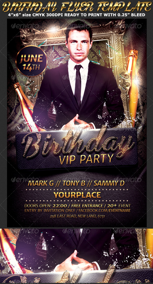 GraphicRiver Birthday Bachelor Party Flyer Template 7546794