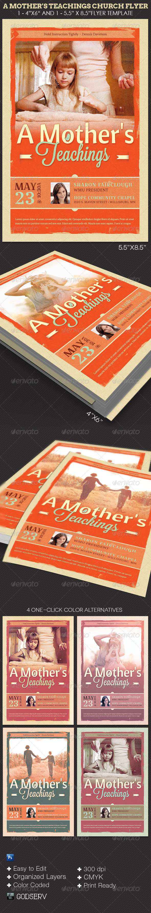 A Mother's Teachings Church Flyer Template - Church Flyers