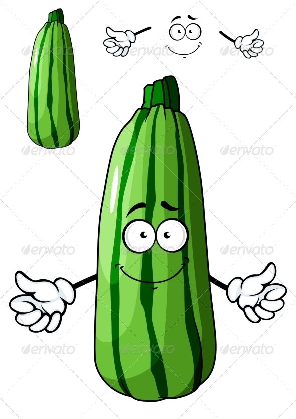 GraphicRiver Fresh Green Cartoon Zucchini Vegetable 7546833