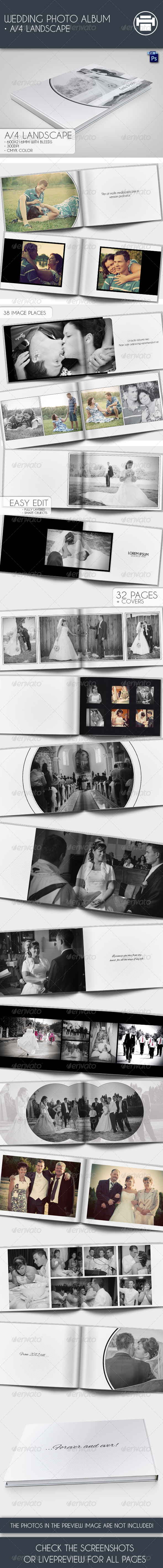 Wedding Photo Album A4 Landscape - Photo Albums Print Templates