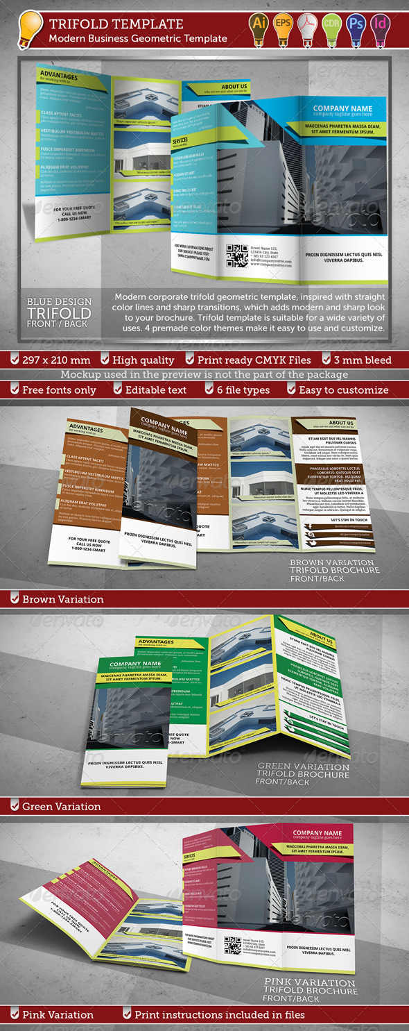 Modern Business Trifold Geometric Template - Corporate Brochures