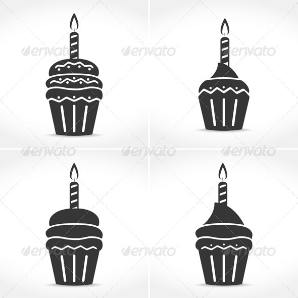 GraphicRiver Birthday Cupcakes with Candles 7547945
