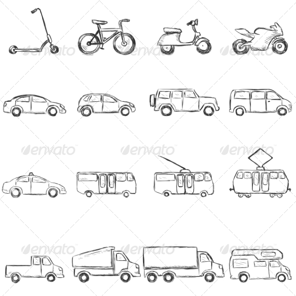 GraphicRiver Sketch Set of Ground Transportation Icons 7547949