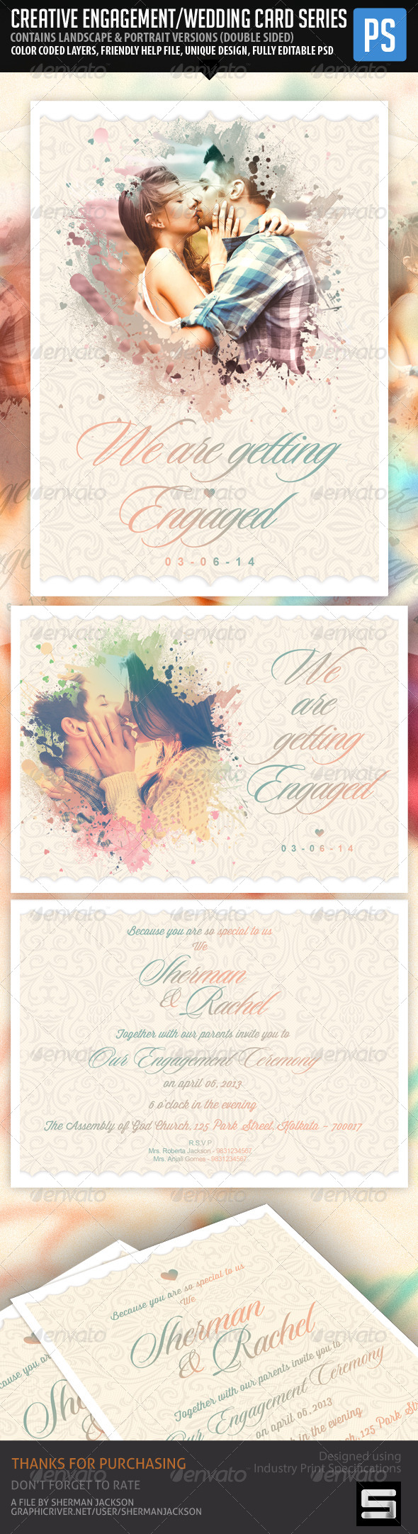 GraphicRiver Creative Engagement Wedding Card 7547950
