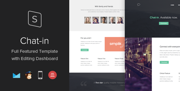 Chat-in Responsive Template with Editing Dashboard - Newsletters Email Templates