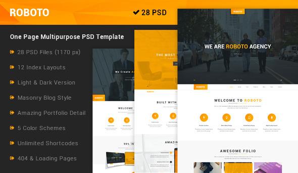 Roboto – One Page Multi-Purpose PSD Template is a amazing design idea for website of Creative, Corporate, Applications, Corporation, Personal Portfolio, F