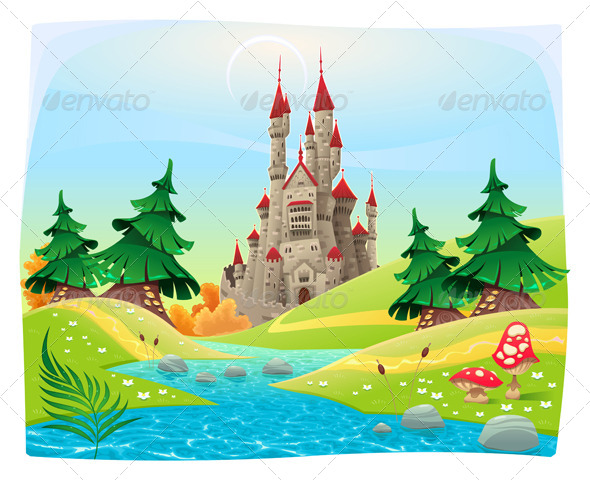 GraphicRiver Mythological Landscape with Medieval Castle 7548288