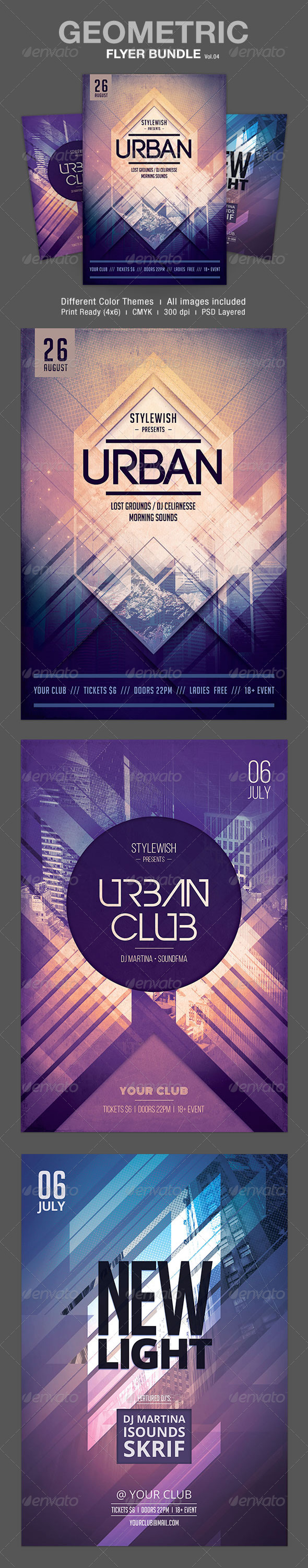 Geometric Flyer Bundle Vol.04 - Clubs & Parties Events