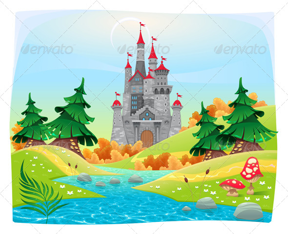 Mythological Landscape with Medieval Castle