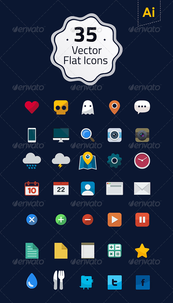 GraphicRiver 35 Vector Flat Icons 7529137