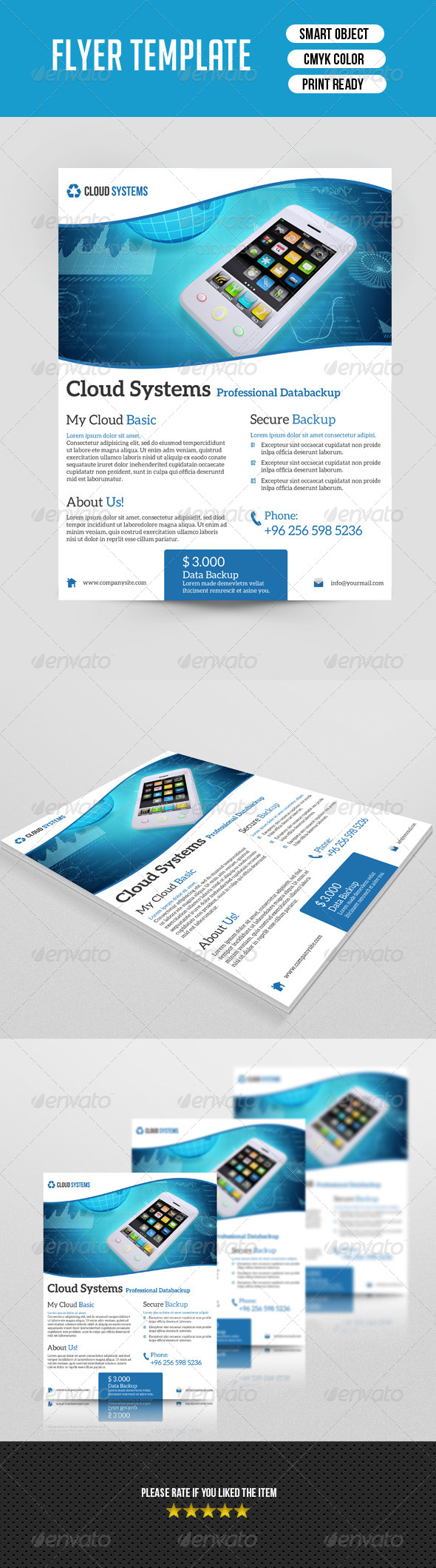 GraphicRiver Cloud System Flyer Template 7549583