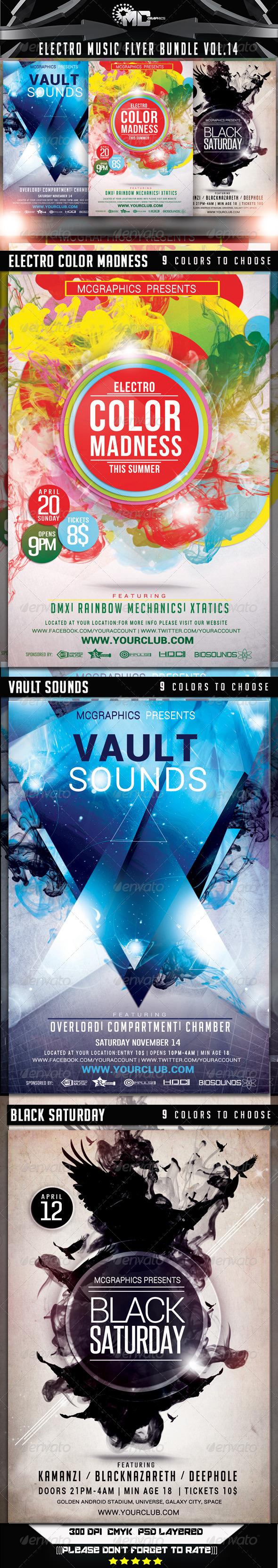 GraphicRiver Electro Music Flyer Bundle Vol.14 7549651