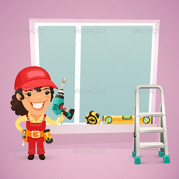 GraphicRiver Female Worker is Installing the Window 7547932