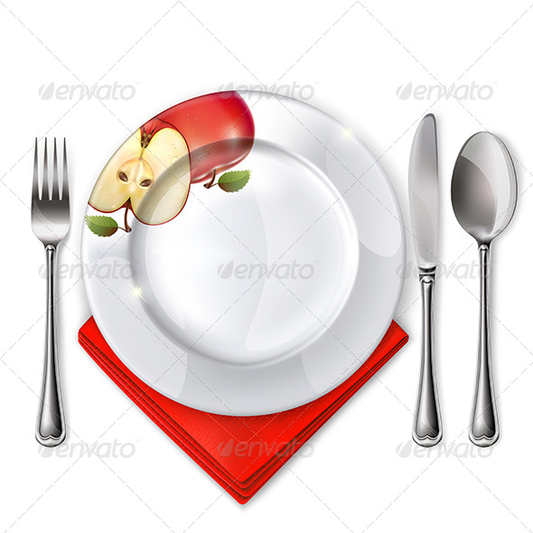 GraphicRiver Plate with Spoon Knife and Fork 7550489