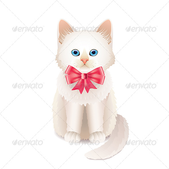 GraphicRiver White Kitten with Pink Bow Illustration 7550505