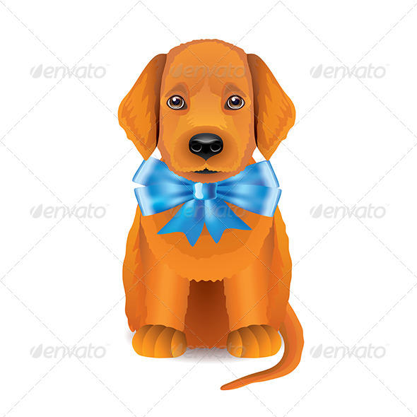 GraphicRiver Red Puppy with Blue Bow 7550510