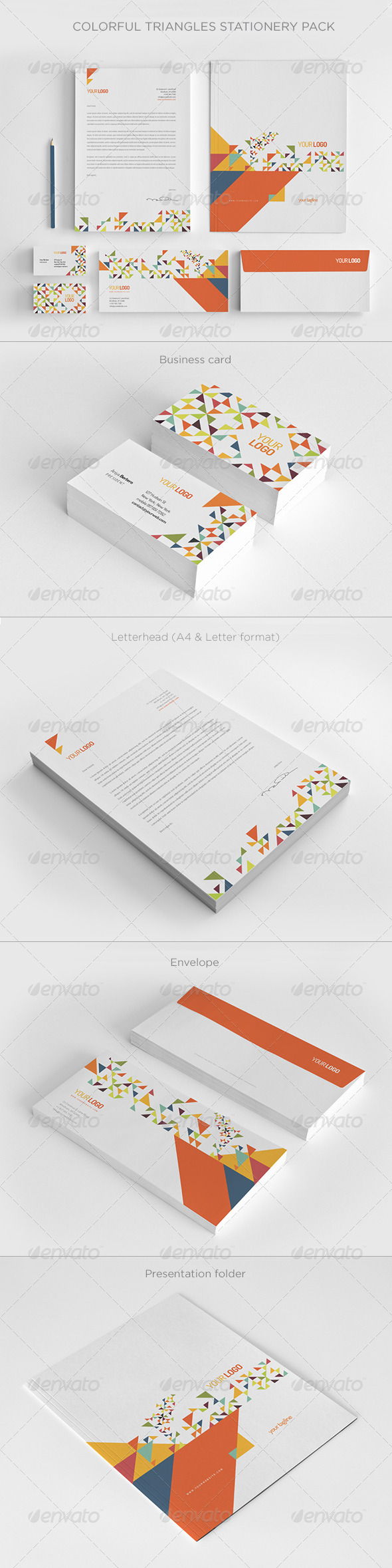 GraphicRiver Colorful Triangles Stationery Pack 7550531