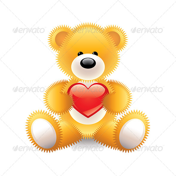GraphicRiver Teddy Bear with Heart Illustration 7550550
