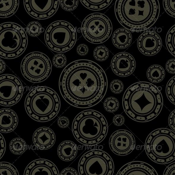 Seamless Dark Casino Chips Pattern