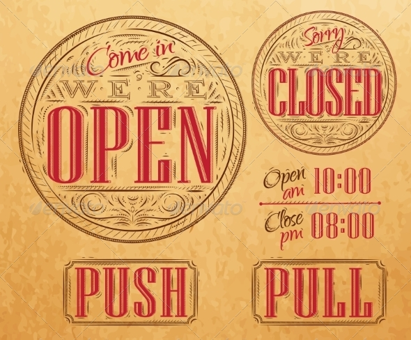 GraphicRiver Vintage Open and Closed 7551193