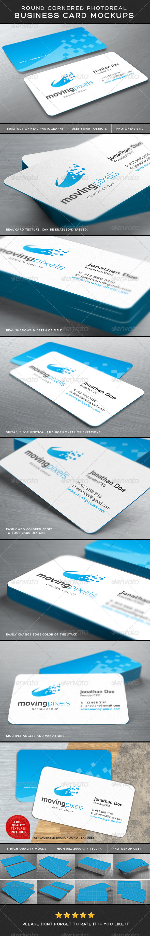 GraphicRiver Photorealistic Business Card Mockup Round Corners 7551336