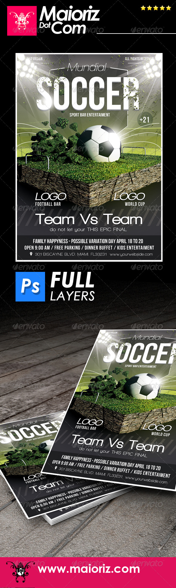 GraphicRiver Soccer Game Flyer Template 7552495