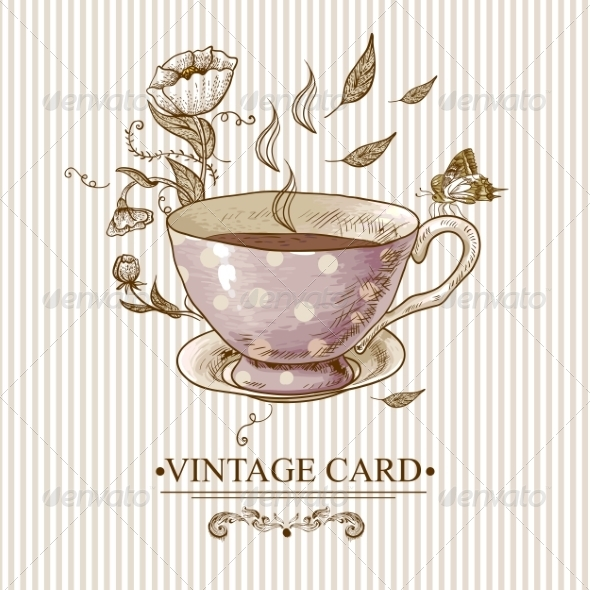 GraphicRiver Vintage Card with Cup Flowers and Butterfly 7552751
