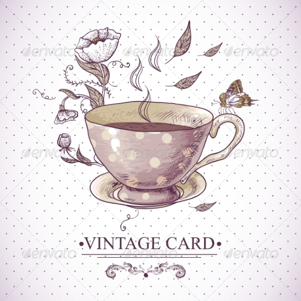 GraphicRiver Vintage Card with Cup Flowers and Butterfly 7552756
