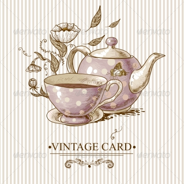 GraphicRiver Vintage Card with Cup Pot Flowers and Butterfly 7552816