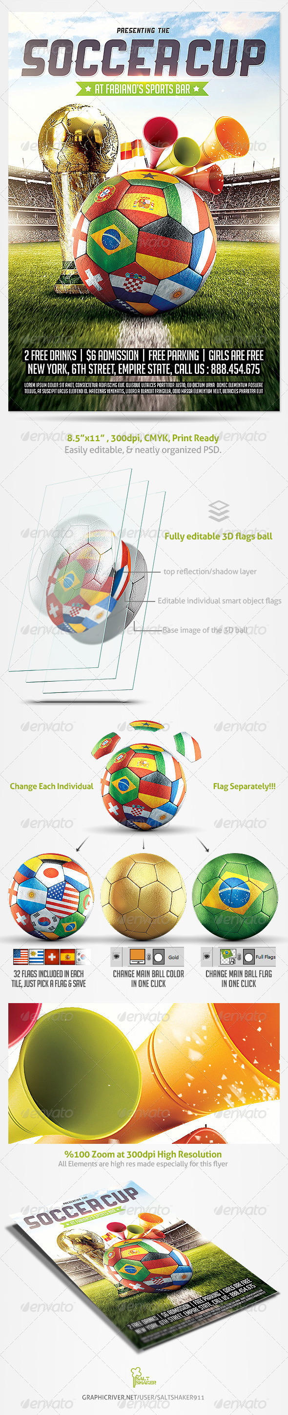 GraphicRiver Brazil Soccer Cup 2014 Football flyer 7552821