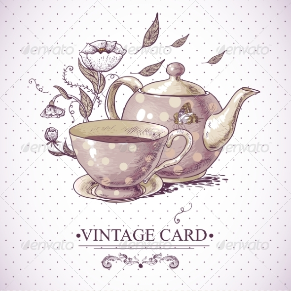GraphicRiver Vintage Card with Cup Pot Flowers and Butterfly 7552824