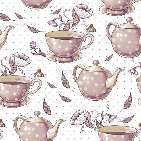 GraphicRiver Seamless Background with Cups and Pots 7553001