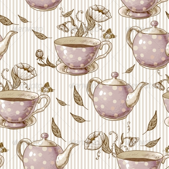 GraphicRiver Seamless Background with Cups and Pots 7553013