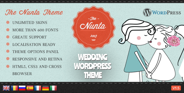 Nunta Wedding Responsive WordPress Theme - Events Entertainment