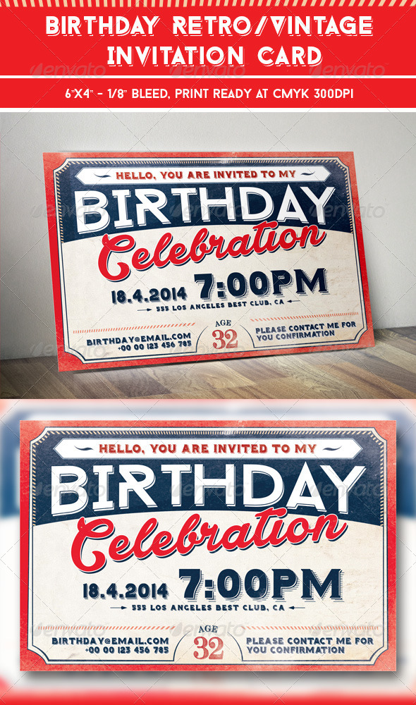 Birthday Retro/Vintage Invitation Card - Invitations Cards & Invites
