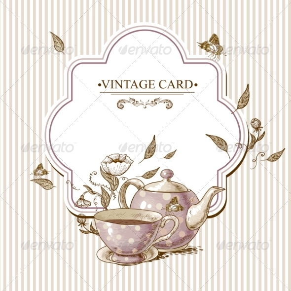 GraphicRiver Invitation Vintage Card with Cup Pot and Flowers 7553991