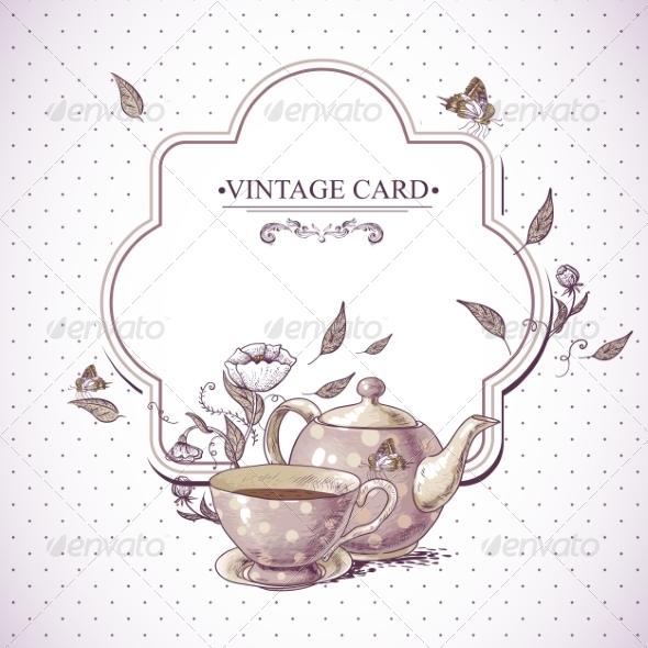 GraphicRiver Invitation Vintage Card with Cup Pot and Flowers 7553999