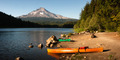 Orange Green Kayaks Shoreline Trillium Lake Mt. Hood Oregon Cascades - PhotoDune Item for Sale
