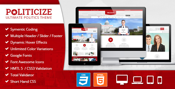 Politicize - Political Responsive HTML5 Template - Political Nonprofit