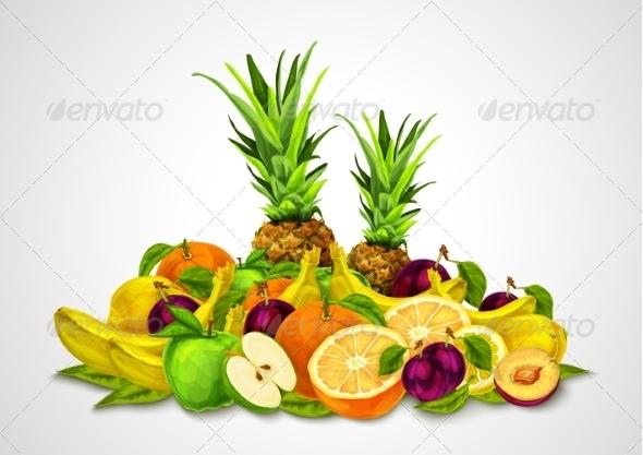 GraphicRiver Tropical Fruits Set Still Life 7554898