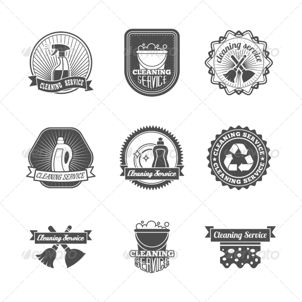 GraphicRiver Cleaning Labels Set 7554910