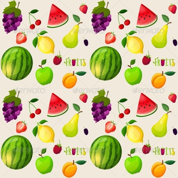 GraphicRiver Fresh Fruits Seamless Pattern 7555286
