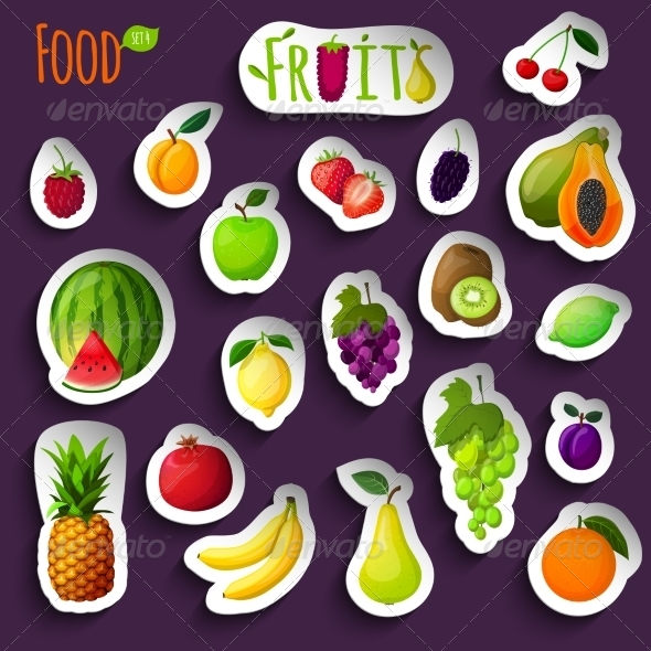 GraphicRiver Fresh Fruits Stickers 7555288