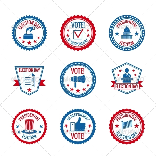 GraphicRiver Elections Labels Set 7555289