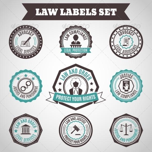 GraphicRiver Law Labels Set 7555292