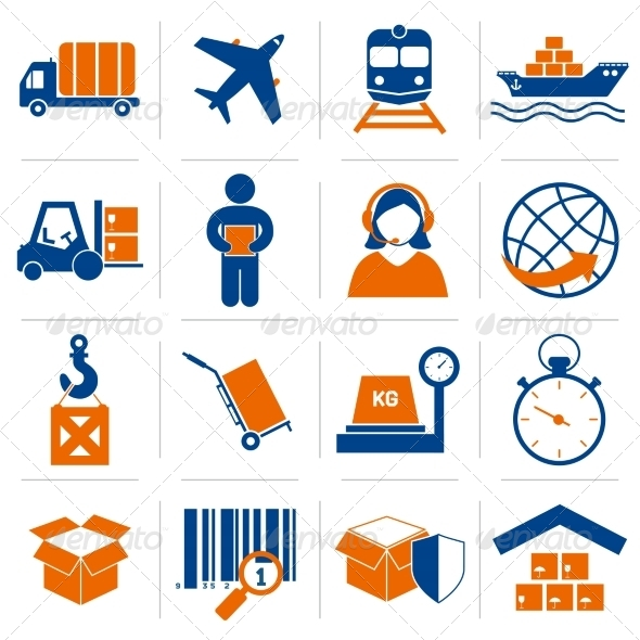 GraphicRiver Logistic Icons Set 7555301