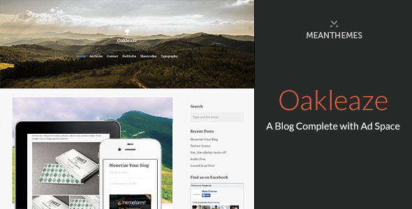 ThemeForest Oakleaze A WordPress Blog Complete with Ad Space 7555532